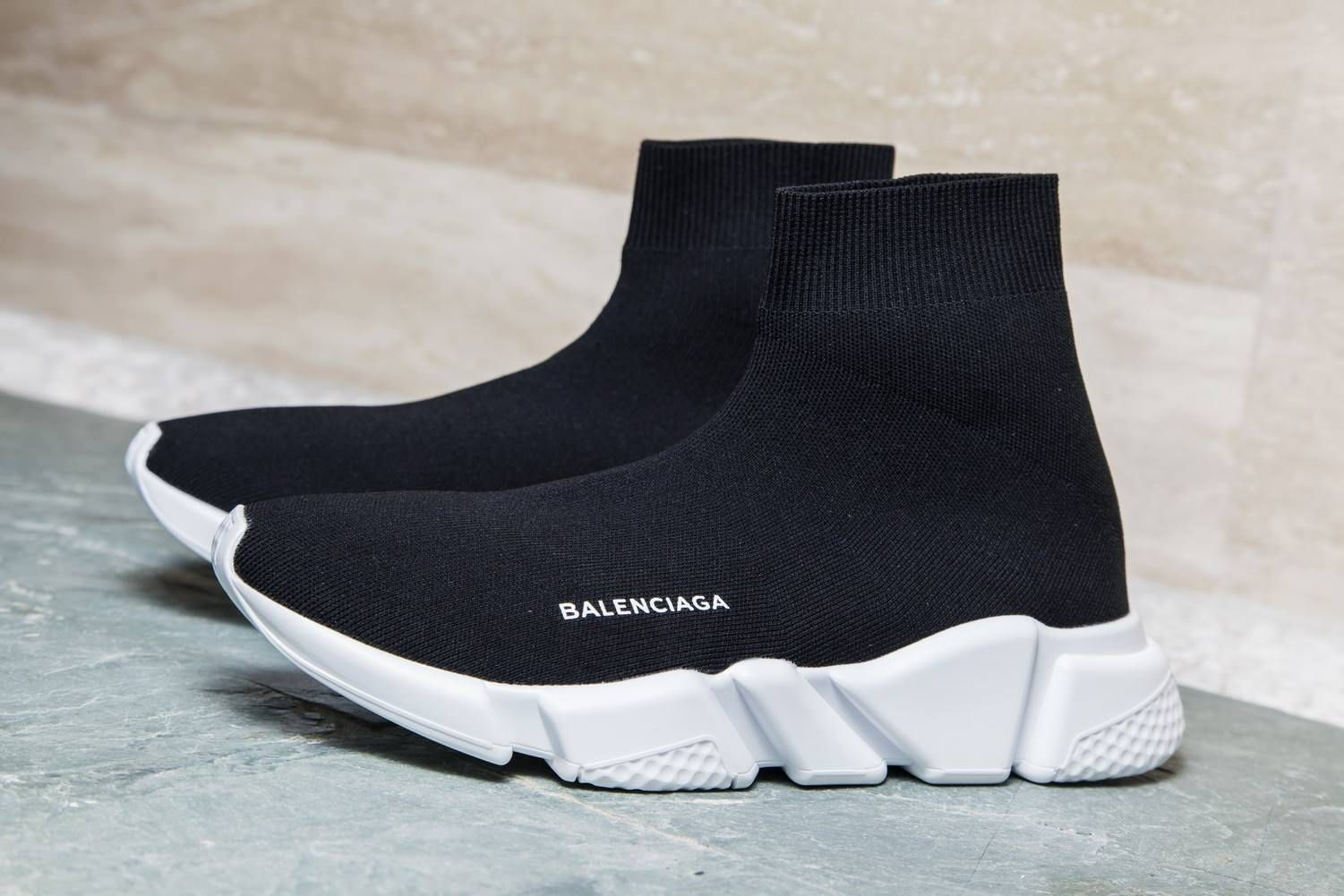 Balenciaga Speed Trainer Mid Black White With Images