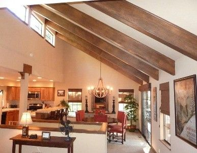 Half Vaulted Ceiling With Beams Home Kitchen