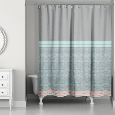 Pastel Boho Tribal Shower Curtain Grey Blue