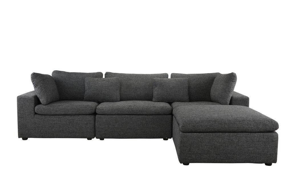 Delano Modern Low Profile Sectional Sofa With Chaise Sectional