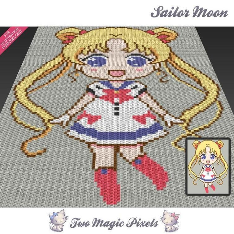Sailor Moon (sc tss c2c cross stitch) | Craftsy