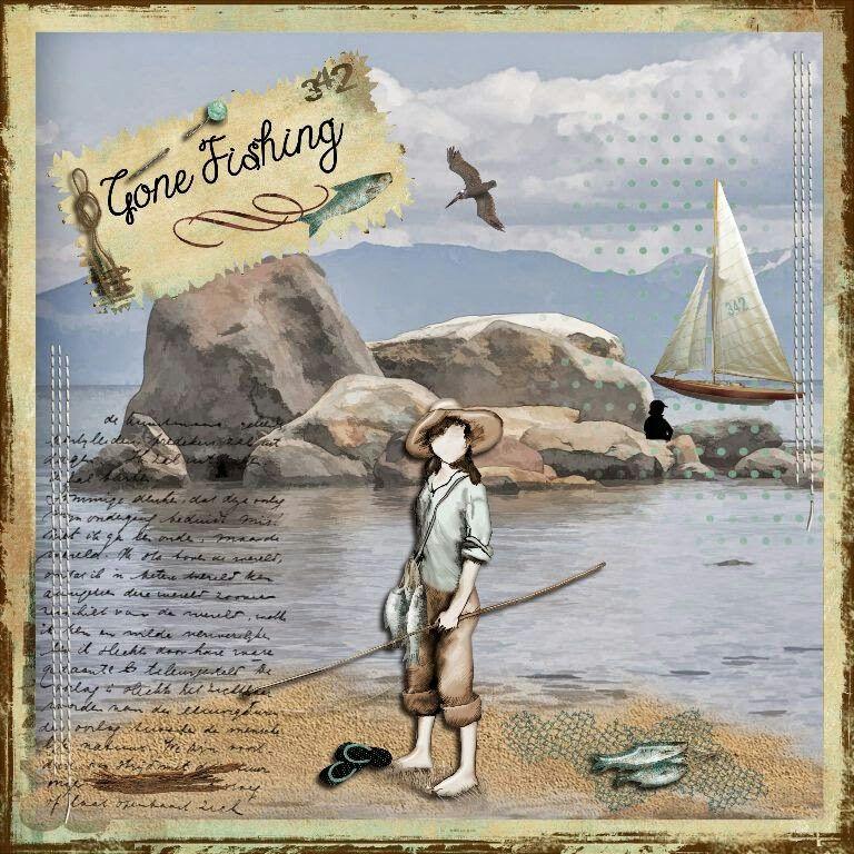 Gone Fishing kit by Lynne Anzelc  at Oscraps
