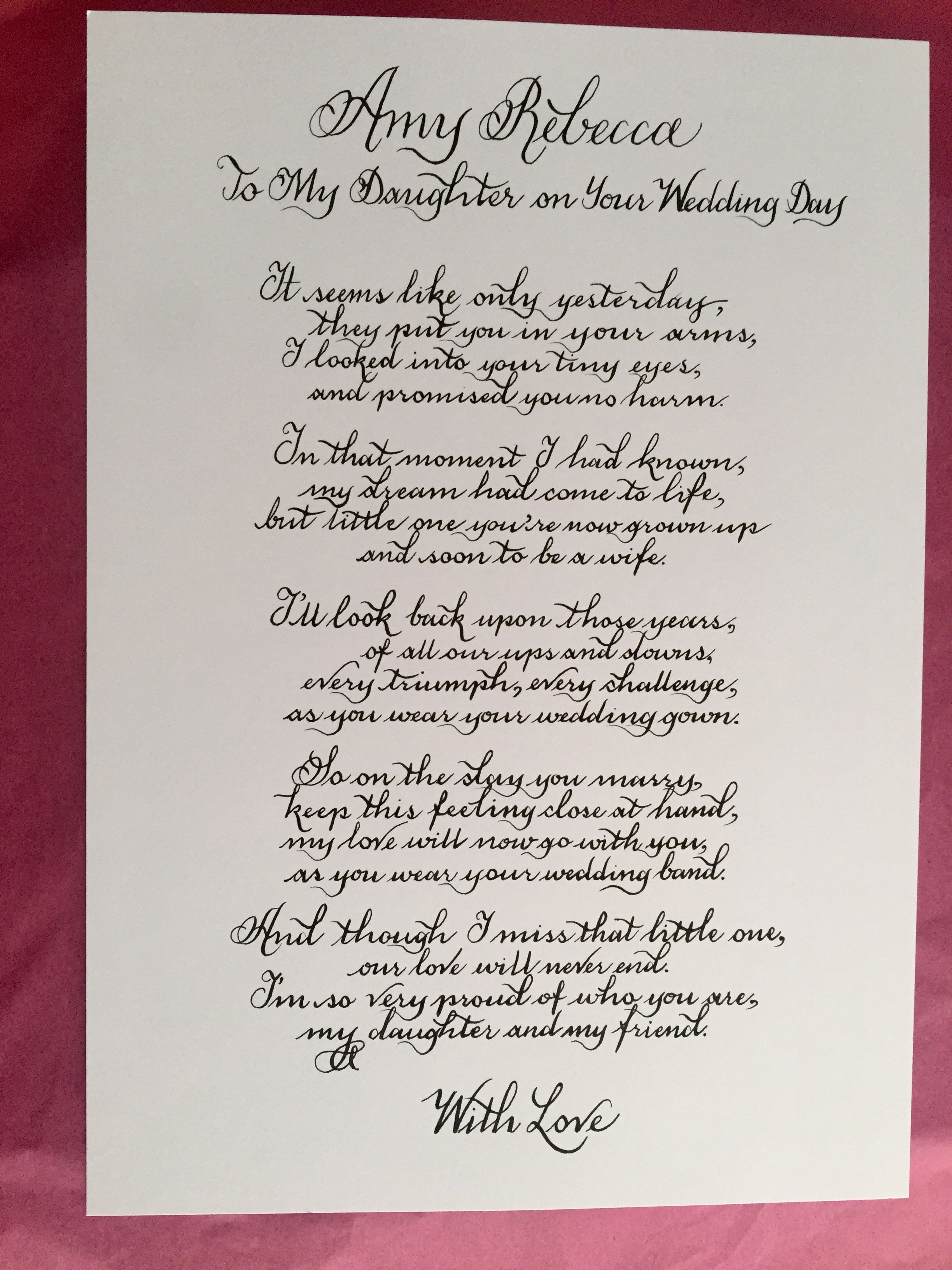 To My Daughter On Your Wedding Day Daughter Wedding Gift Etsy Wedding Poems Poem To My Daughter Daughter Wedding Gifts