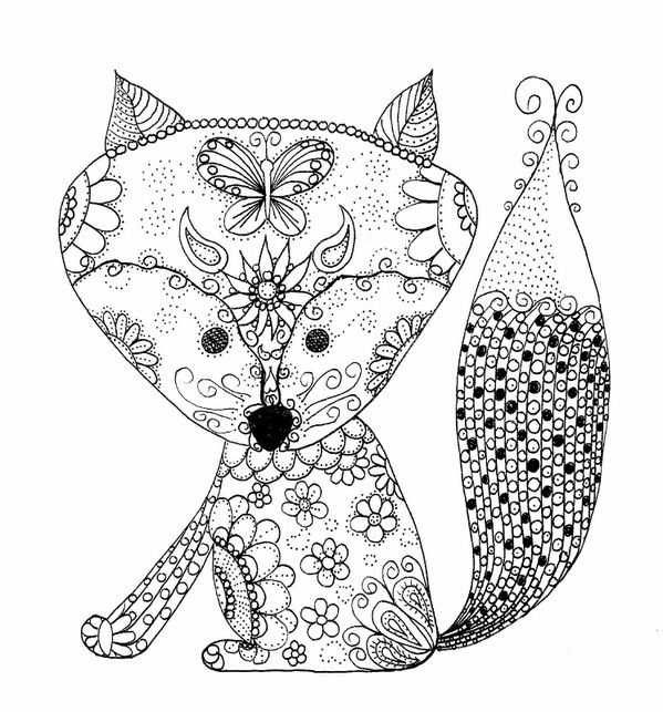 Baby Fox Coloring Page | How cool is this? | Pinterest | Colorin