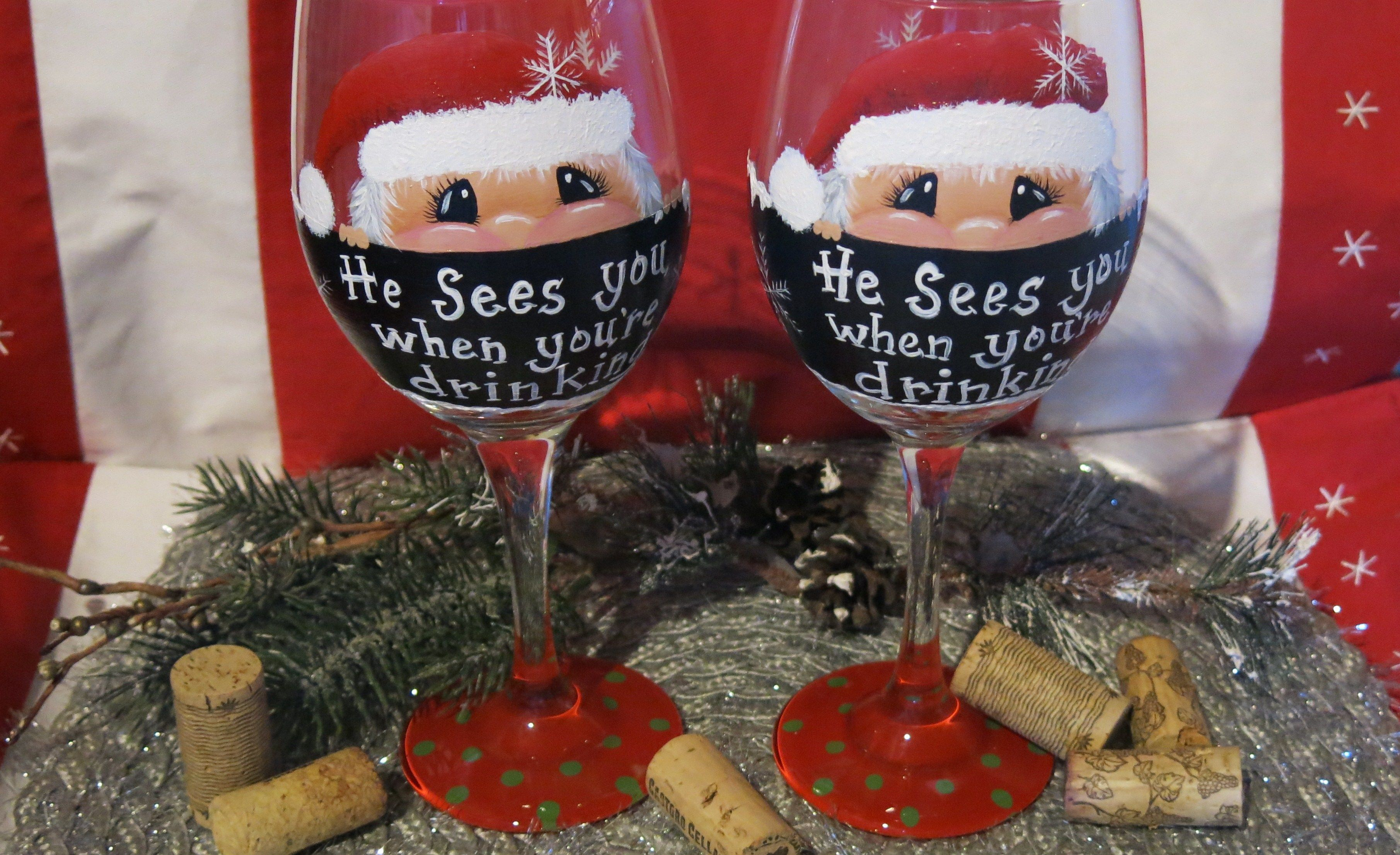 My Latest Creations Custom Santa Wine Glass Order Hand Painted Wine Glasses Painting Glassware Painted Wine Glasses