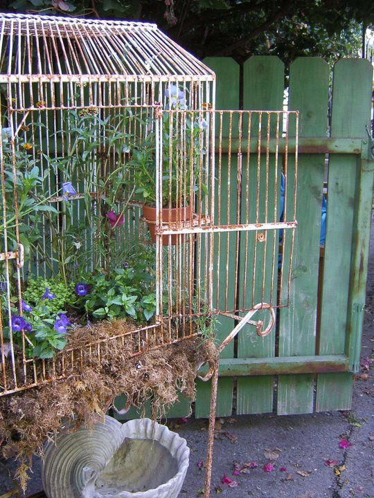 Need To Do This For My Birdcage Birdcage Planter Bird Cage Decor Vintage Bird Cage