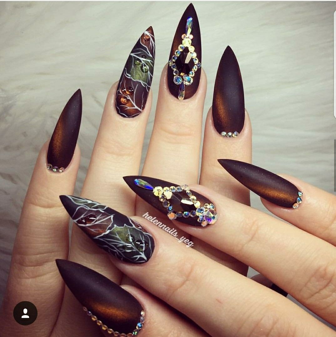Amazing Fall Nail Art. Stiletto Nails.