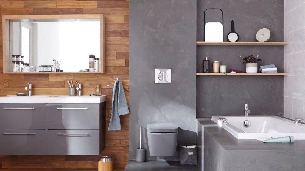 Hout beton badkamer toiletruimte house