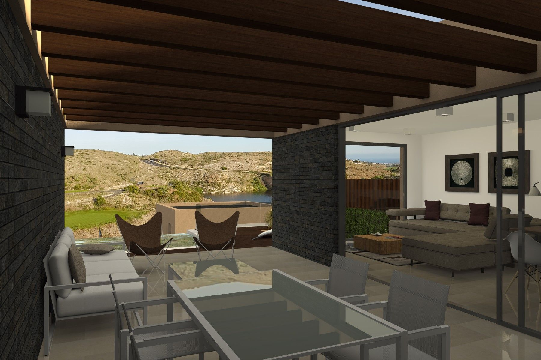 Vista 3d Exterior Desde La Terraza Hacia El Campo De Golf De