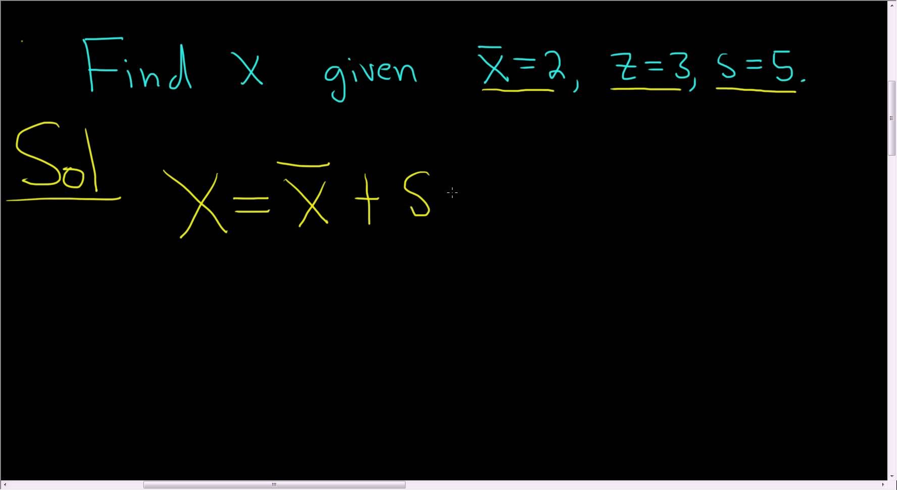 Find x given the z-score, sample mean, and sample standard deviation