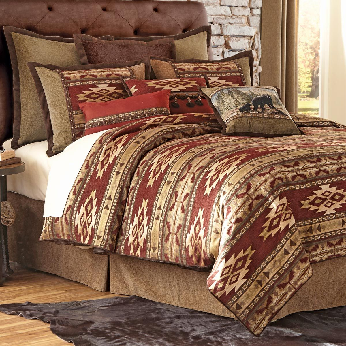 product set rust orange reversible comforter down alternative and queen oatmeal