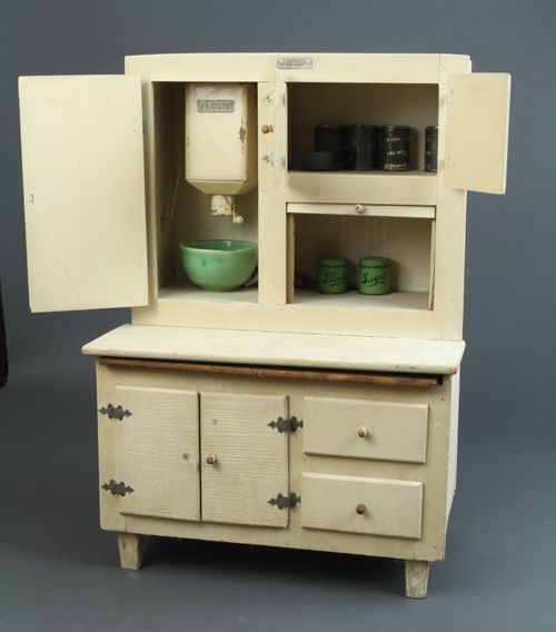 Schoenhut - Kitchen Cabinet showing the working flour sifter, c.1930-Toy  Hoosier - Schoenhut - Kitchen Cabinet Showing The Working Flour Sifter, C.1930