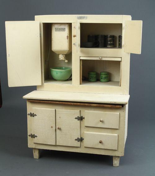 Schoenhut - Kitchen Cabinet showing the working flour sifter, c.1930 -  Schoenhut - - Antique Kitchen Cupboard With Flour Bin Antique Furniture