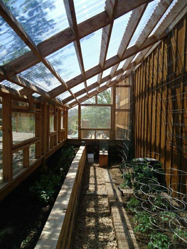 wintergarten holz-konstruktion mit glas-überdachung Gewächshaus - tipps pflege pflanzen wintergarten