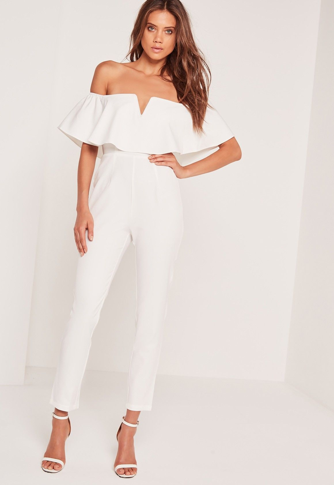 0d705aeedbc Missguided - Crepe Bardot Frill Detail Jumpsuit White