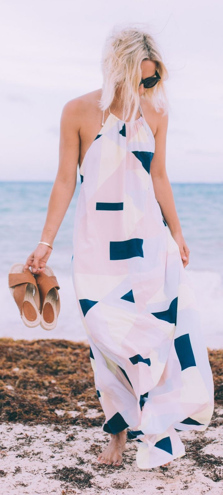 Geo Print Maxi Halter Dress by Damsel In Dior