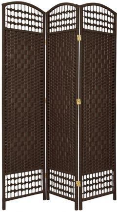 Dark Red Tall Fiber Weave Room Divider 6 Panels Oriental Furniture 4 ft