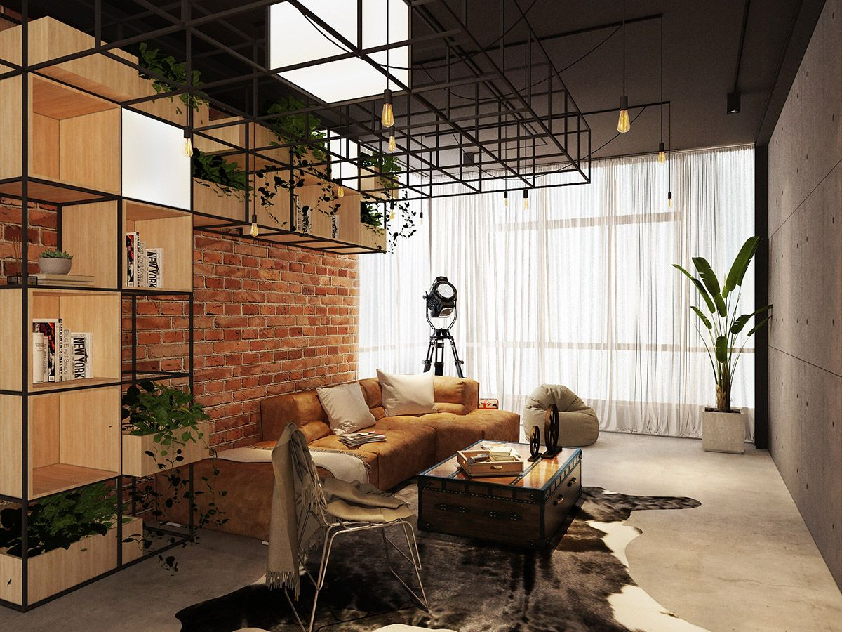 Three Industrial Style Lofts With Natural Accents Loft Interior