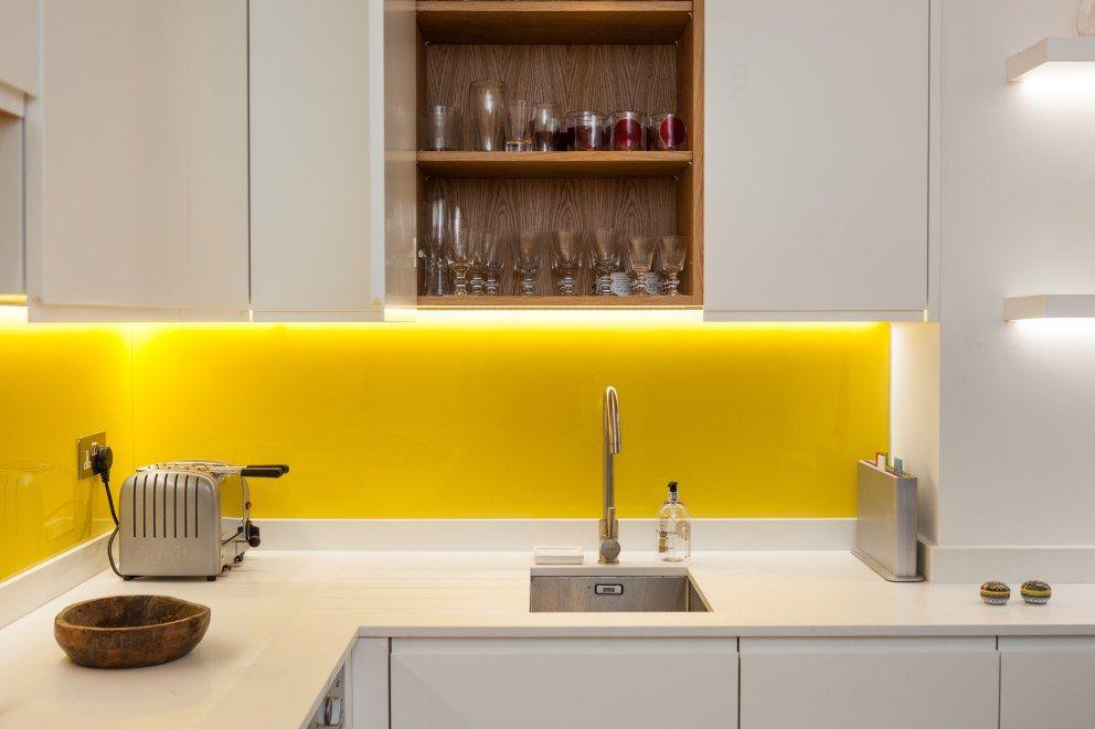 white kitchen with yellow splashbacks kensington basement interiordesigners net tiny on kitchen yellow id=28598