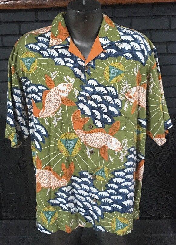 d2122e4d065 Tommy Bahama 100% Silk Koi Fish Shirt Men s Size Large  TommyBahama   Hawaiian