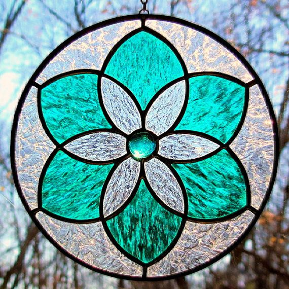 Stained Glass Teal Green Star Flower Mandala by LivingGlassArt, $38.00