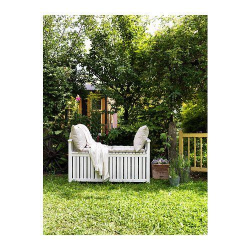 ÄNGSÖ Úložná lavica vonkaj - biela morená, - - IKEA
