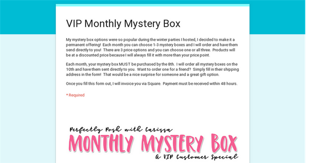 377b5cb83af7 I am offering MYSTERY BOXES every single month! If you re like me ...