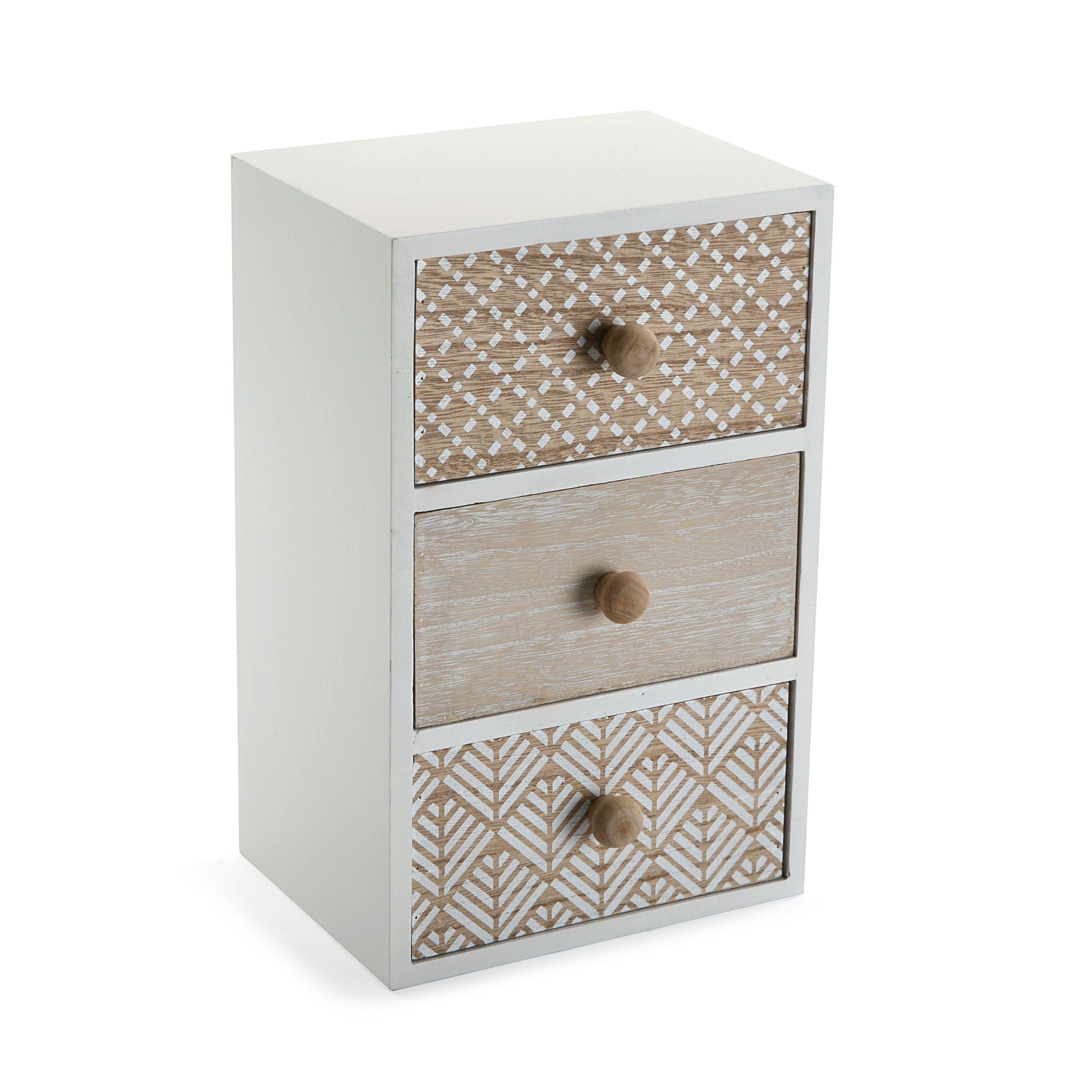 Caja Joyero Con Tres Cajones En Madera Natural Y Blanco