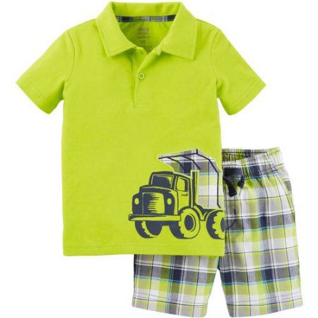 07b480fb Child of Mine by Carter's Baby Toddler Boy Collared Shirt and Short Outfit  Set, 2 Pieces, Green
