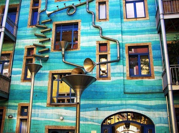 Musical Rain Gutter Funnel Wall In Dresden Germany Dresden Unique Buildings Rain Gutters