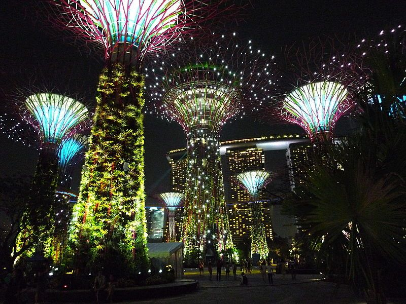 A Night View Of The Supertree Grove At Gardens By The Bay, Singapore.
