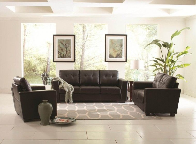 Best Black Leather Sofa On White Tile Floor Connected By 640 x 480