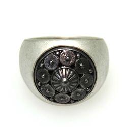 Silver Black Circle Pattern Ring