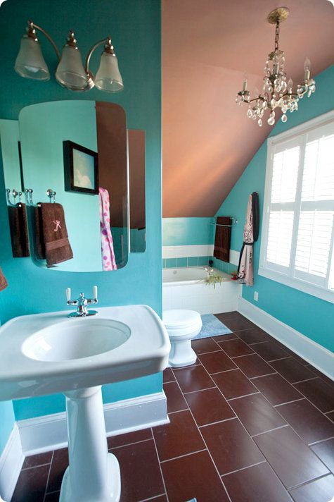 brown floor turquoise walls tan ceiling white fixtures rh pinterest com turquoise and brown bathroom ideas turquoise and brown bathroom ideas