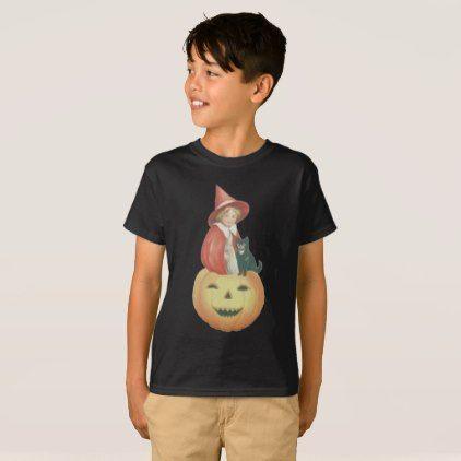 Cute Smiling Jack O Lantern Witch Black Cat T-Shirt - cat cats kitten kitty pet love pussy