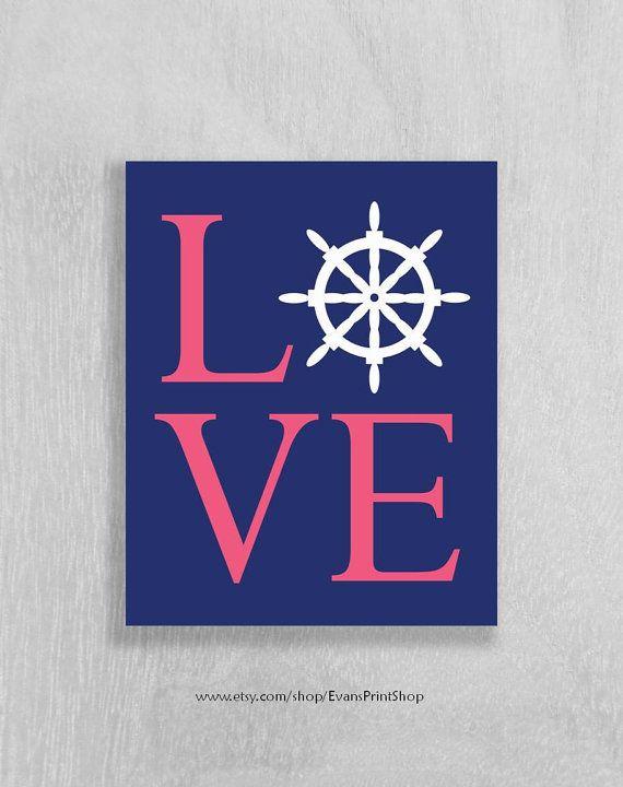 Nautical Nursery Wall Art Print Baby Love Ship Wheel Navy And Pink Decor