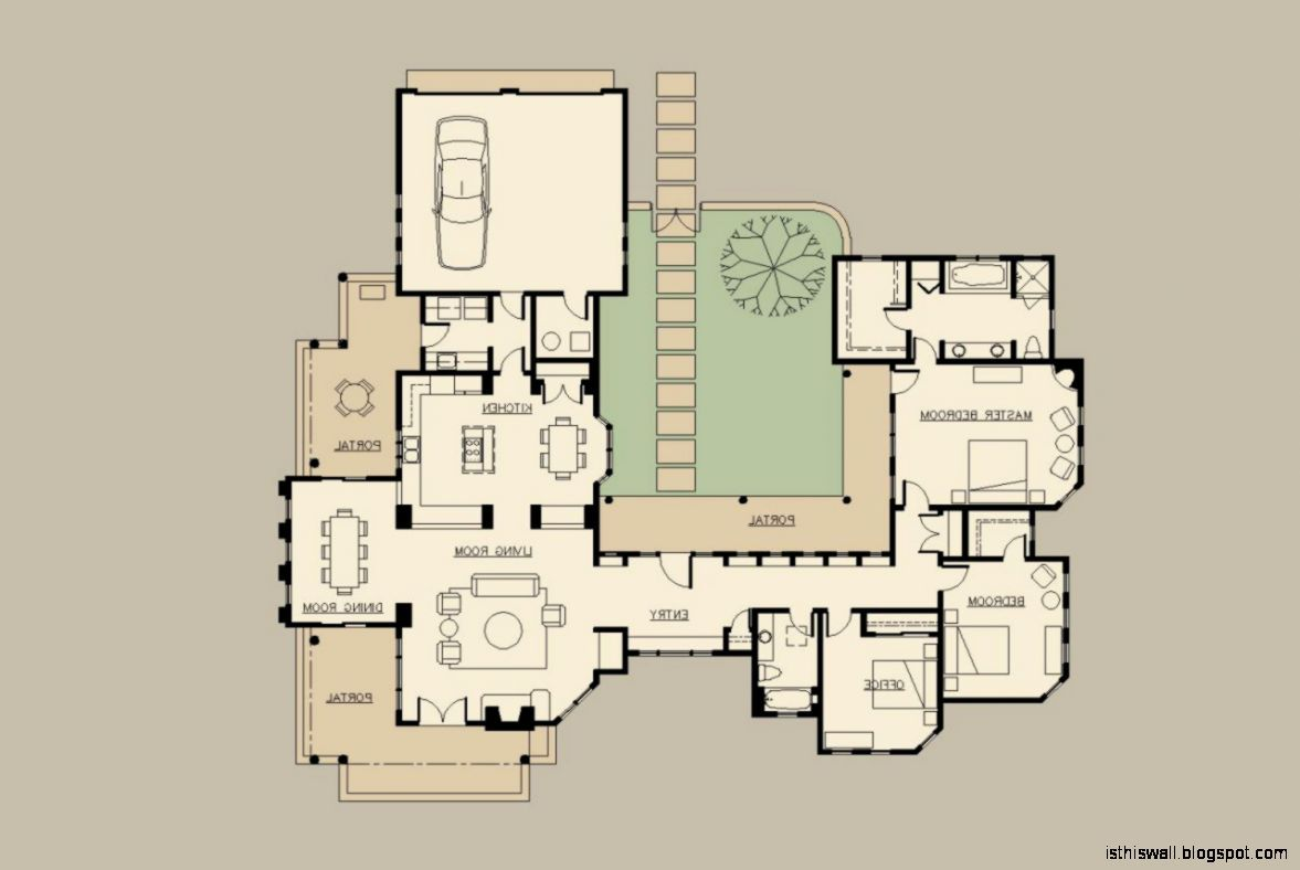 Perfect Hacienda Home Designsthis Wallpapers Courtyard House Plans House Plans One Story Mediterranean House Plans