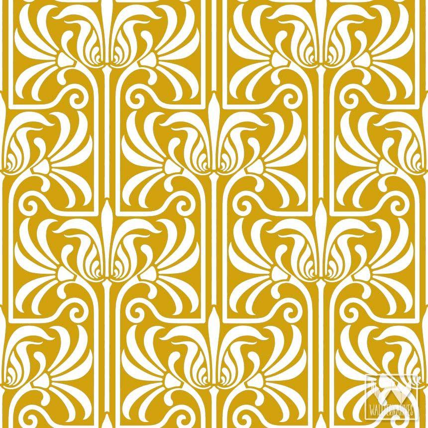 Art Nouveau Feather Damask Removable Wallpaper   Room kitchen ...