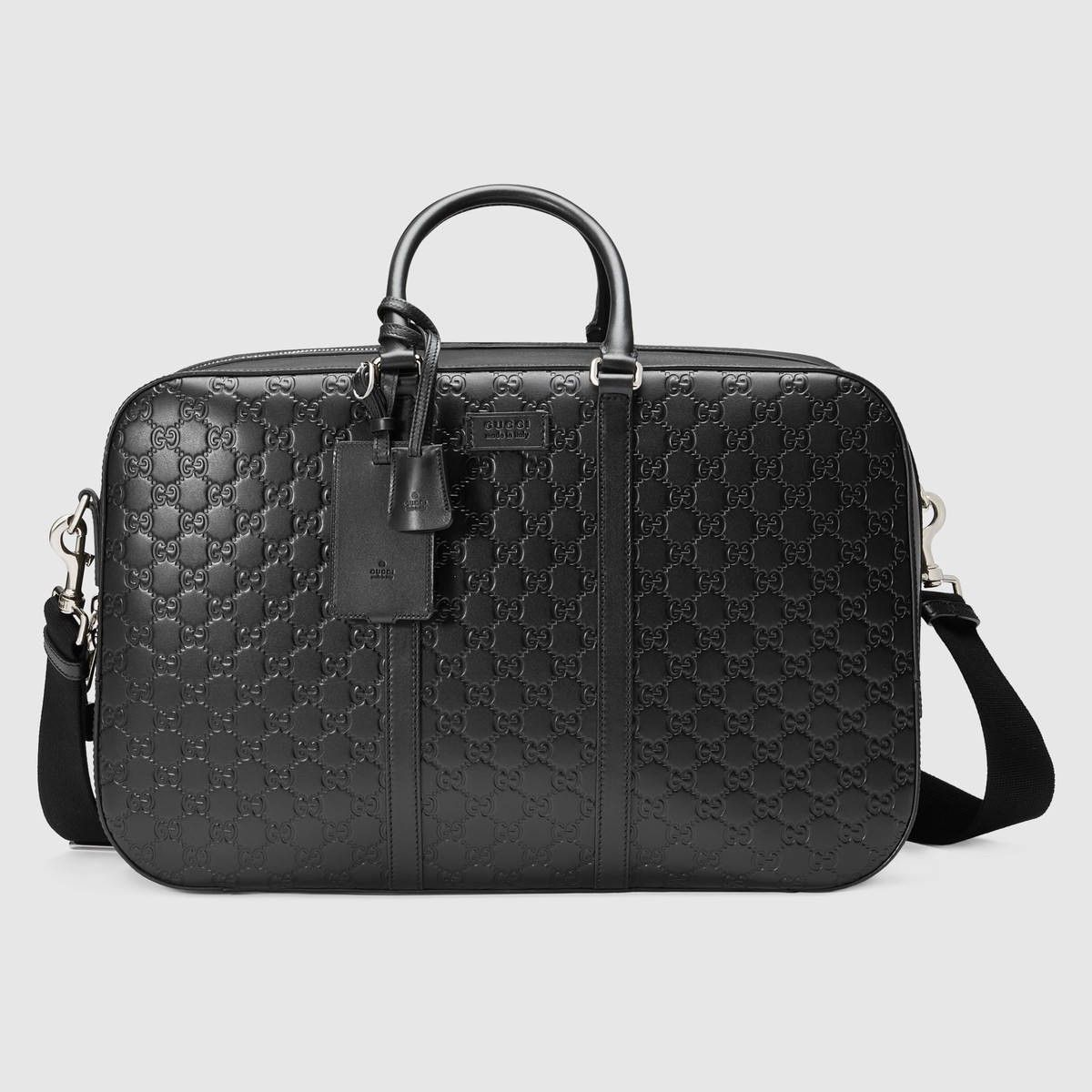 f6a96ed8720 GUCCI Gucci Signature Leather Duffle - Black Gucci Signature.  gucci  bags   shoulder bags  hand bags  nylon  suede  lining
