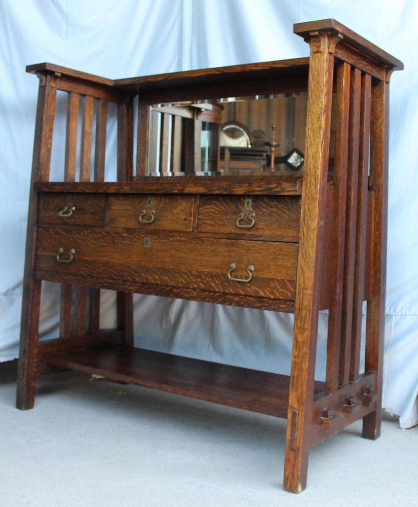 Antique arts and crafts furniture - Antique Arts Crafts Mission Oak Sideboard