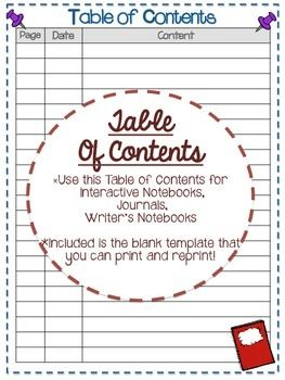 table of contents free template