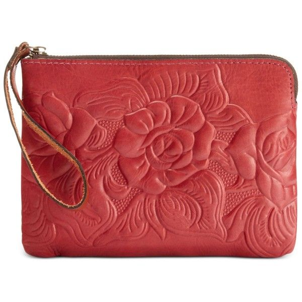 Patricia Nash Tooled Rose Cassini Wristlet ($51) ❤ liked on Polyvore featuring bags, handbags, clutches, rosewood, vintage leather purse, red purse, leather wristlet, red wristlet and patricia nash handbags