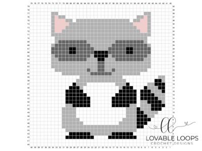 Crochet Raccoon C2C Baby Blanket #c2cbabyblanket