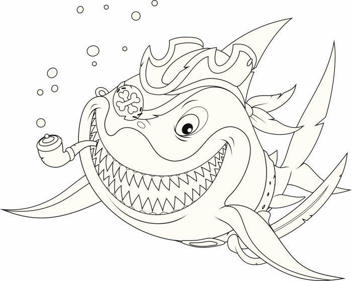 Coloriage pirate mr requin sourit de toutes ses dents - Coloriage requin blanc ...