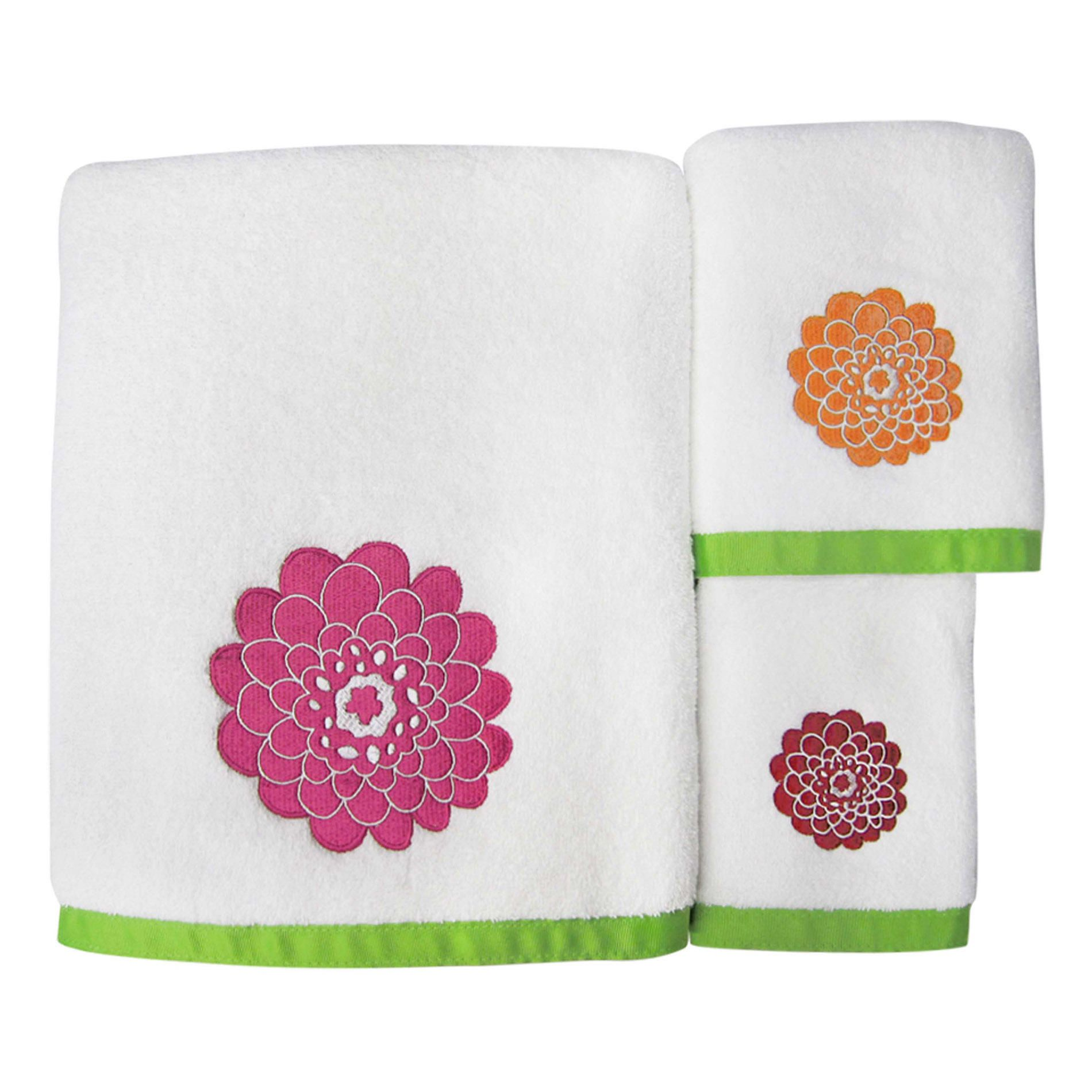 Allure home creation costella pink bath towel set big flowers