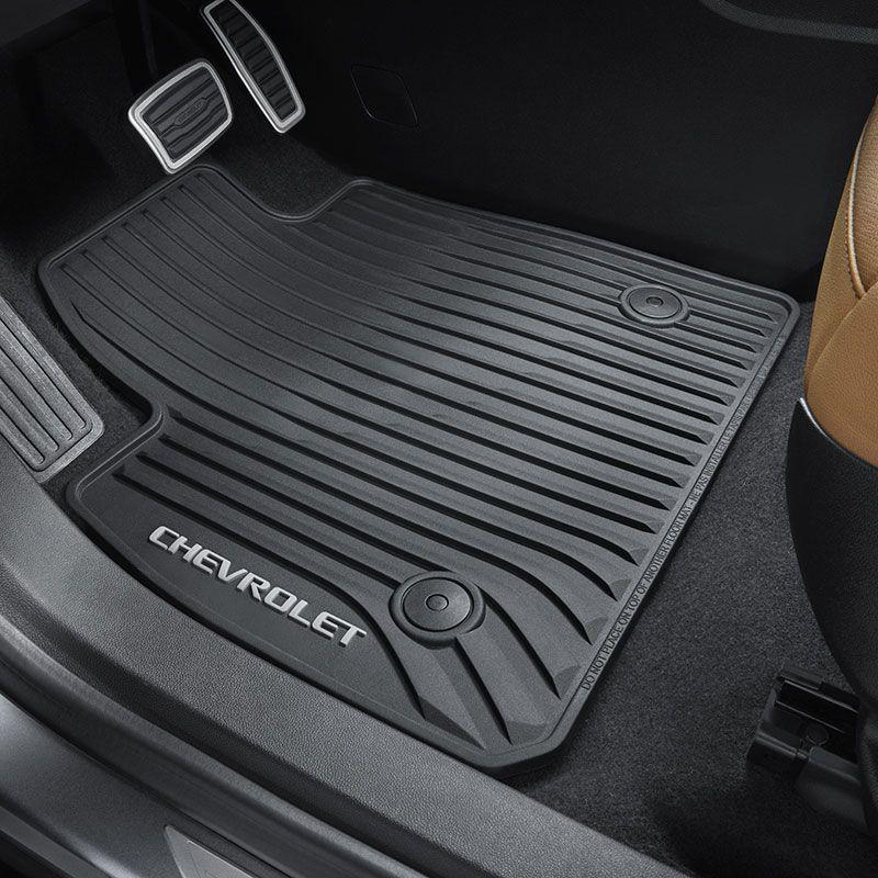 2019 Blazer Floor Mats Front Row Black Premium All Weather Chevrolet Script Logo 84148087 Front Row Chevrolet Accessories
