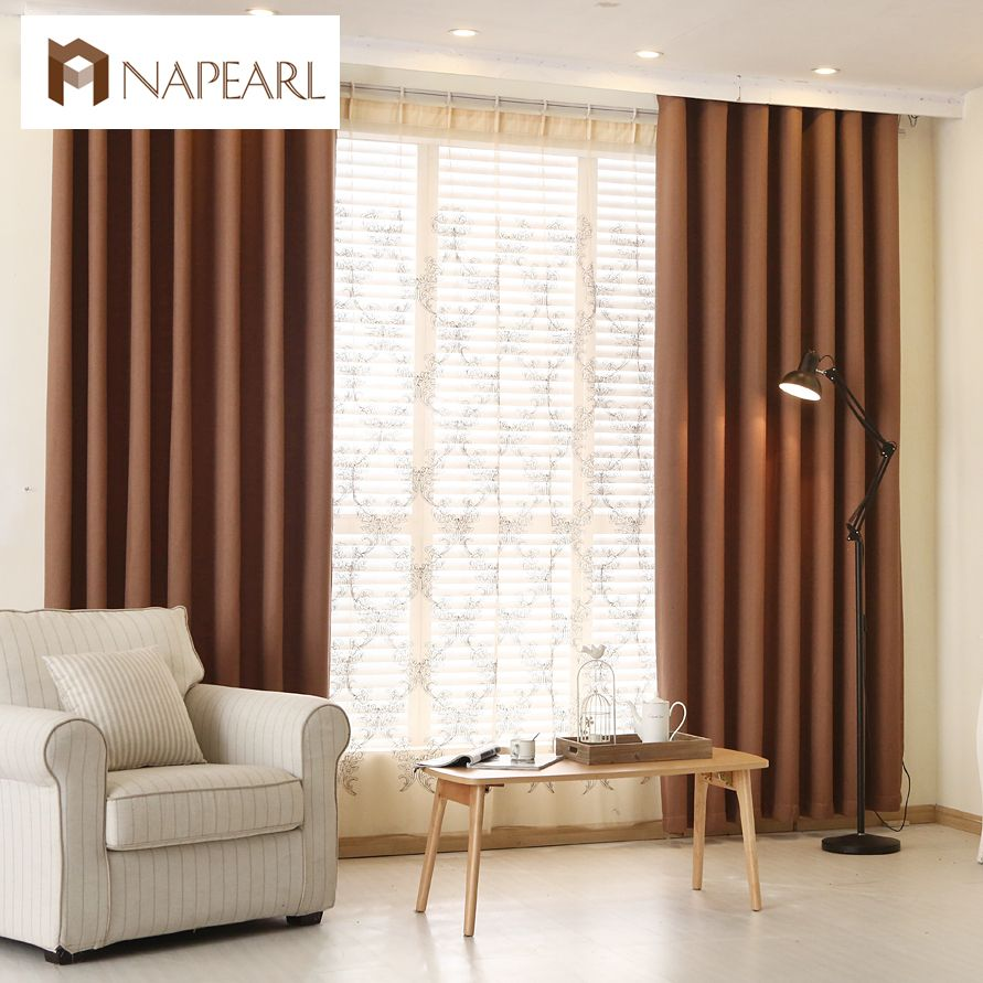 Plain dyed blackout curtains linen fabrics solid color brown green