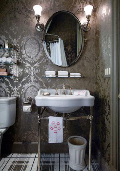 Damask Wallpaper On Charming Powder Bath With A Damask Style