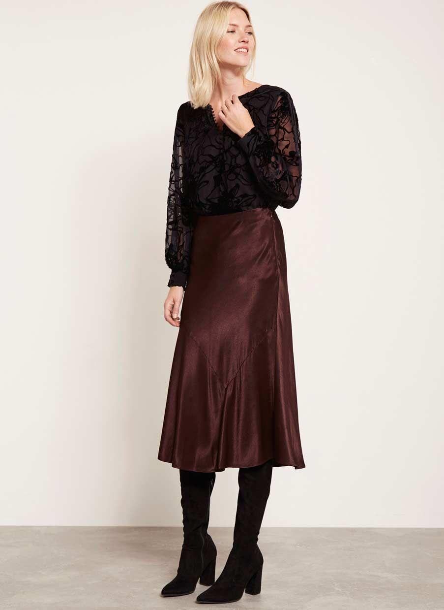 187b79350990 Chocolate Satin Skirt in 2019   NEW ARRIVALS   Satin skirt, Skirts ...