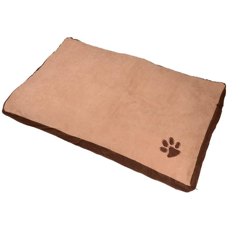 Large rectangular pet bed with embroidered paw detail. Measures 90cm x 60cm x 10cm approx.